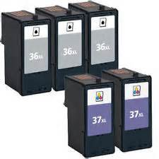 FREE SHIPPING! Lexmark 36XL, 37XL 5-Pack Combo (3 Black, 2 Color) $18ea
